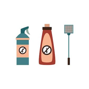 Insetti spray per il controllo dei parassiti e illustrazione piatta scacciamosche