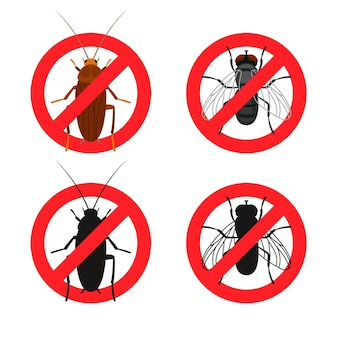 Segnali di pericolo di insetti. simboli di controllo anti insetti rossi, concetto di parassiti di arresto, illustrazione vettoriale di segni di divieto di insetti e falene isolati su priorità bassa bianca