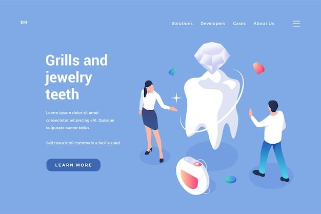 Inserimento di gioielli nei denti odontoiatria estetica con materiali d'élite