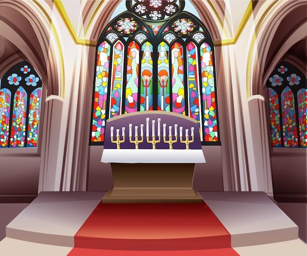 Vettore interno del fondo della finestra di vetro macchiato della chiesa