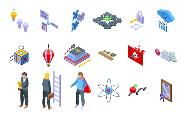 Insight set di icone vettore isometrico. generazione di brainstorming. problema mentale