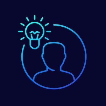 Icona della linea insight, lampadina e vettore dell'uomo