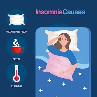 L'insonnia causa la donna sul letto con cuscino e set di icone, tema del sonno e della notte