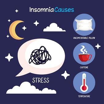 L'insonnia causa bolla di stress e set di icone, tema del sonno e della notte