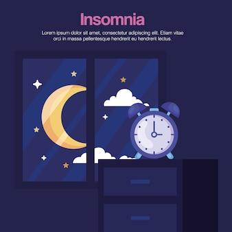 Orologio di insonnia su mobili e luna al design della finestra, tema del sonno e della notte