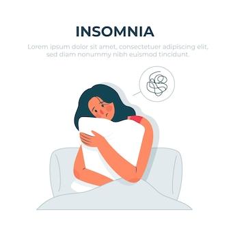 Concetto di insonnia con la donna che abbraccia il cuscino