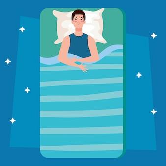 Uomo di insonnia sul letto con disegno del cuscino, tema del sonno e della notte