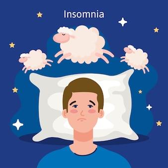 Uomo di insonnia sul letto con cuscino e design di pecore, tema del sonno e della notte
