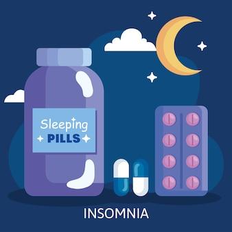Pillole di insonnia vaso e design della luna, tema del sonno e della notte