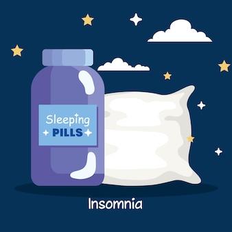 Pillole di insonnia vaso e design del cuscino, tema del sonno e della notte