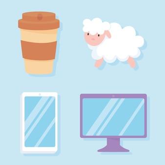 Illustrazione di vettore delle icone di insonnia, cellulare e tazza di caffè delle pecore