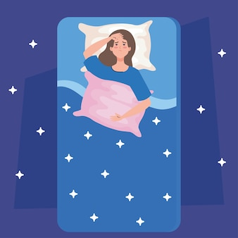 Donna di insonnia sul letto con cuscino e design di stelle, tema del sonno e della notte