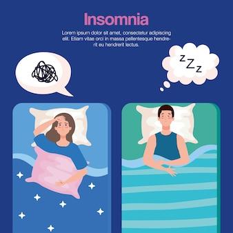 Insonnia donna e uomo sul letto con design di bolle, tema del sonno e della notte