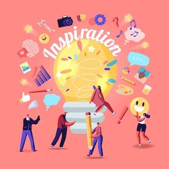 Ispirazione, concetto di idea creativa. piccoli personaggi intorno a un'enorme lampadina illuminata, donna seduta su una lampada. team alla ricerca di nuove informazioni per lo sviluppo del progetto. cartoon persone illustrazione vettoriale