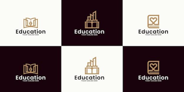 Ispirazione per loghi educativi, edifici per il cuore, edifici per libri e matite per libri