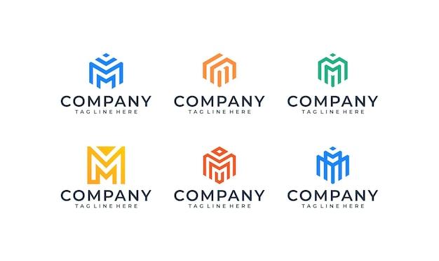 Pacchetto di ispirazione lettera m logo design