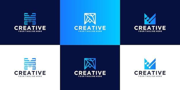 Ispirazione per la lettera m . collezione logo monogramma