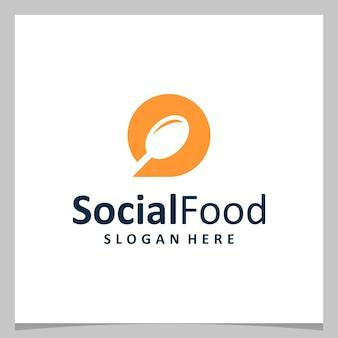 Bolla di chat di design del logo di ispirazione con logo del cucchiaio. vettore premium