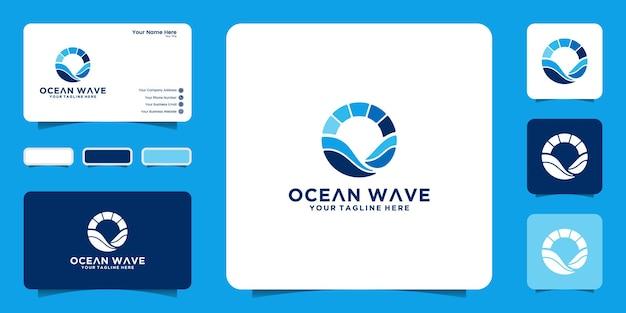 Ispirazione logo design onde oceaniche circolari e icona del tramonto e design del biglietto da visita