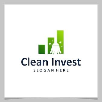 Ispirazione logo design scopa pulita con logo di investimento finanziario. vettore premium