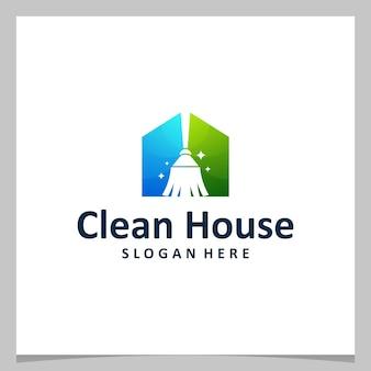 Ispirazione logo design scopa pulita con logo della casa. vettore premium