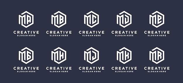 Il design del logo della lettera m di ispirazione si combina con ecc.