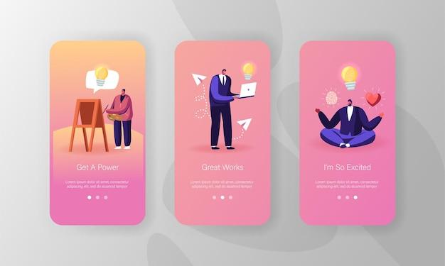 Modello di schermata a bordo della pagina dell'app per dispositivi mobili di ispirazione.