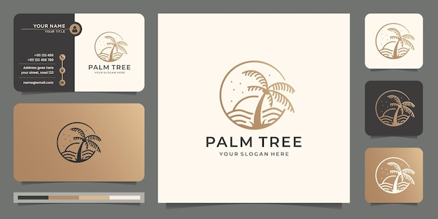 Ispirazione palm beach e concetto di design del logo dell'albero con modello di progettazione del biglietto da visita.
