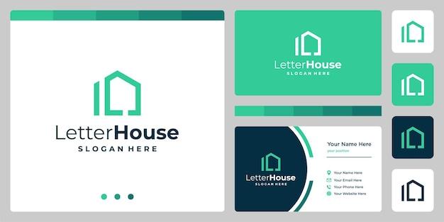 Ispirazione per la forma di una casa con la lettera iniziale l. vector premium