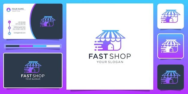 Logo del negozio di ispirazione con concept design veloce. logo del negozio veloce per la tua azienda, moderna, tecnologia.