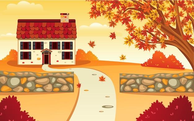 Design piatto di ispirazione vettoriale di una casa di paesaggio e cortile in autunno che rende la bellezza arancione.