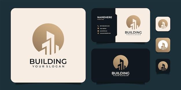 Logo ispiratore della costruzione di edifici con design del logo del biglietto da visita