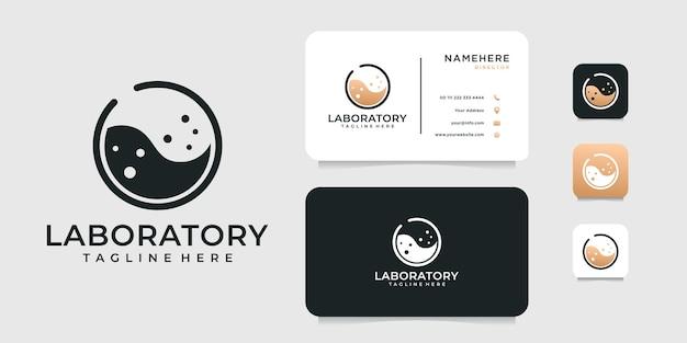 Logo di scienza di laboratorio ispiratore e design di biglietti da visita