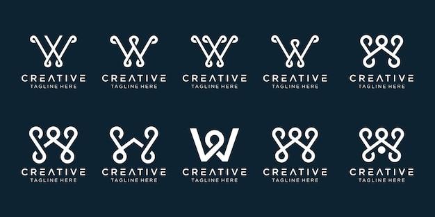 Modello di logo w con iniziali monogramma ispiratore.