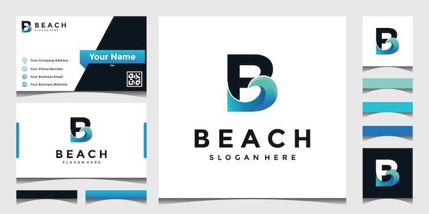 Logo ispirato b con onde del mare