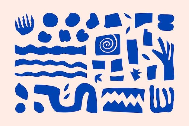 Forme geometriche e organiche ispirate a matisse in uno stile minimal alla moda. elementi di collage di arte vettoriale realizzati in carta tagliata per la creazione di loghi, motivi, poster, copertine e cartoline