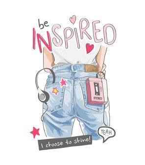 Donna ispirata di slogan in blue jeans e illustrazione sveglia delle icone