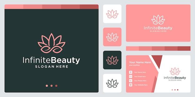 Loghi ispiranti di piante da fiore e infinite forme di logo. disegno del biglietto da visita
