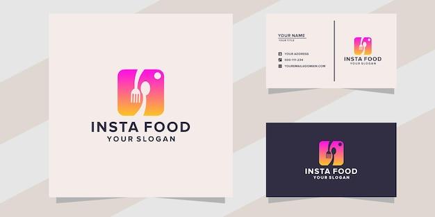 Modello di logo di cibo insta su stile moderno