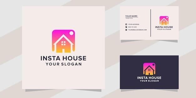 Modello di logo della casa di insta