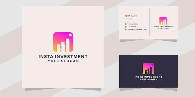 Modello di logo di investimento insta su stile moderno