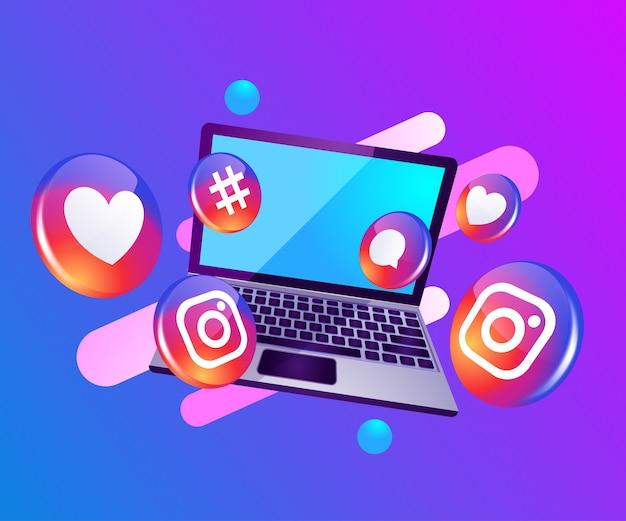 Social media dell'icona di instagram 3d con il dekstop del computer portatile