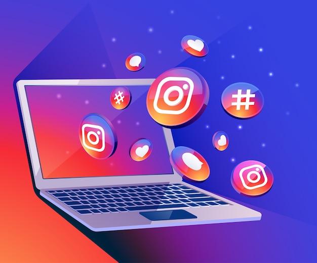 Icona di social media di instagram 3d con dekstop del computer portatile