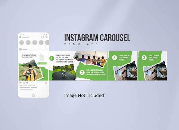 Modello di carosello di instagram per viaggiare