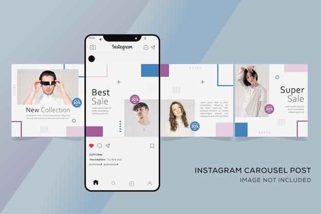 Banner di modelli di crousel di instagram per la vendita di moda premium