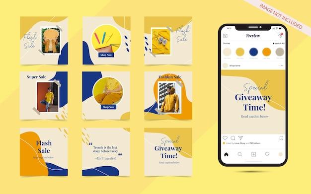 Instagram e facebook feed poster puzzle con cornice quadrata. banner di post sui social media per la promozione della vendita di moda