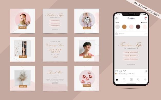 Instagram e facebook square frame puzzle social media post banner per la promozione della vendita di moda