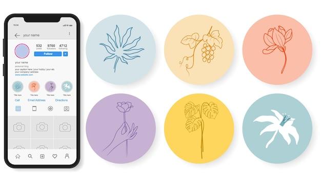 Punti salienti di storie floreali disegnate a mano di instagram.