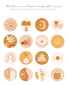 Punti salienti di instagram set di icone di copertina