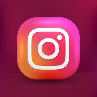Icona di instagram 3d social media in stile carino